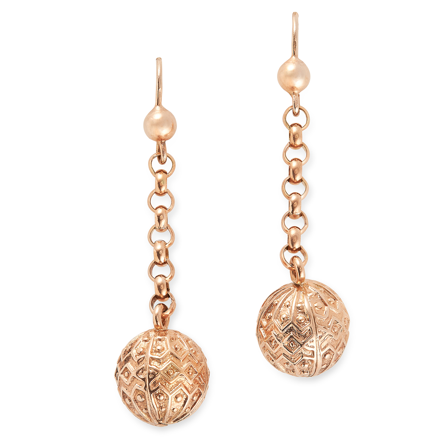 ANTIQUE GOLD DROP EARRINGS set with ornate gold beads, 4.5cm, 7.2g.