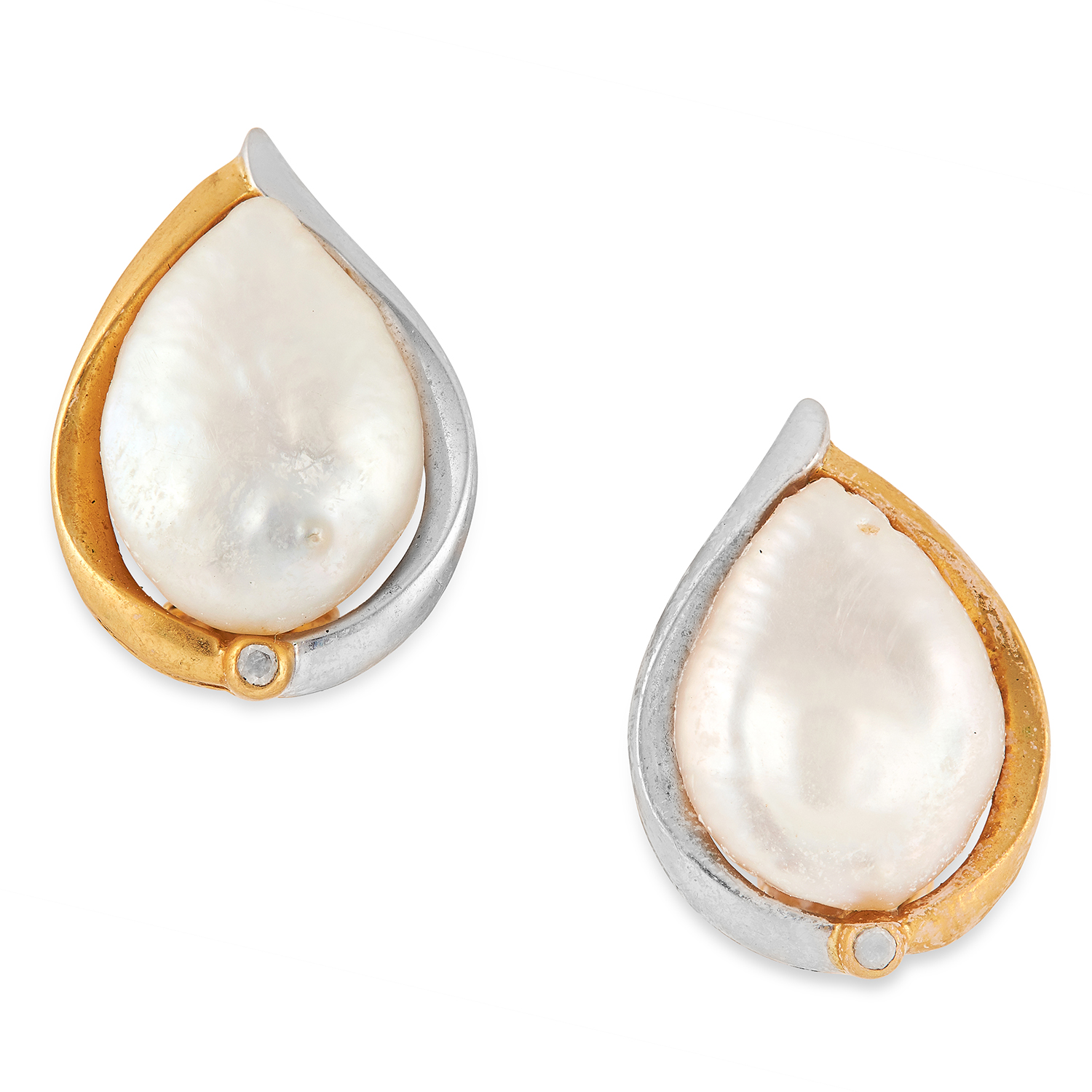 PEARL AND DIAMOND EARRINGS each set with a pear shaped pearl above a round cut diamond, 2.1cm, 11.