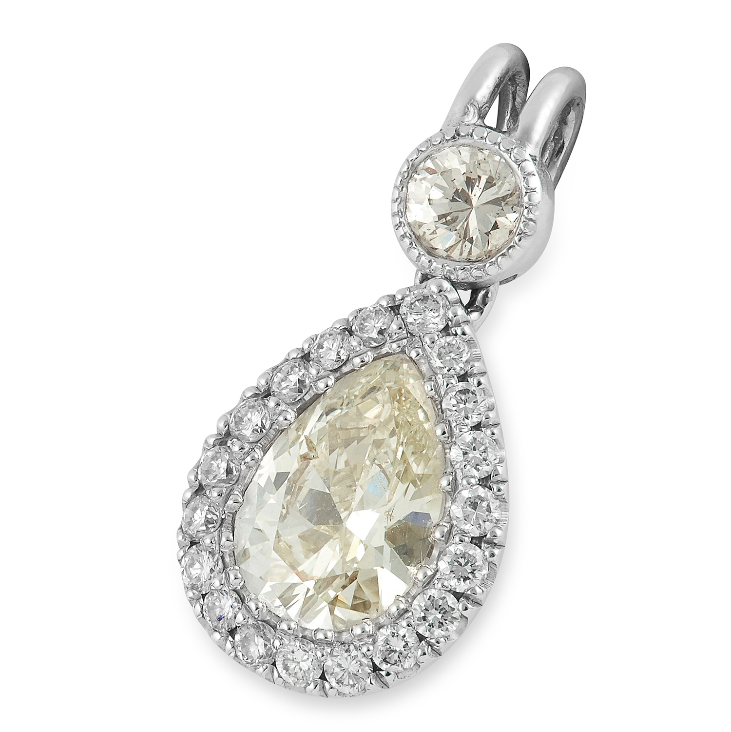 DIAMOND PENDANT set with a central pear cut diamond in a halo of round cut diamonds, 2cm, 1.5g.