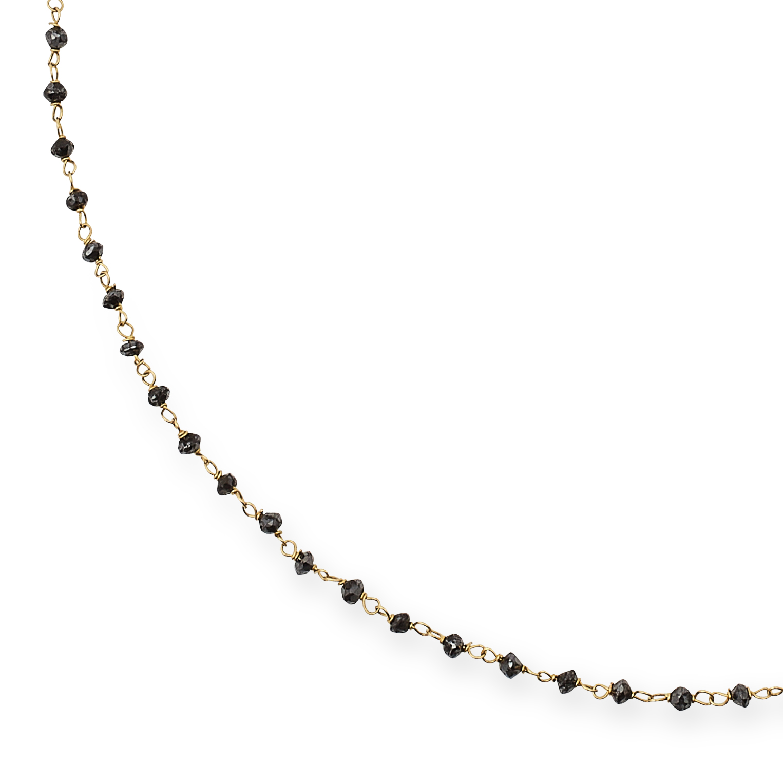 BLACK DIAMOND CHAIN NECKLACE set with faceted black diamond beads, 40cm, 3.2g. - Bild 2 aus 2