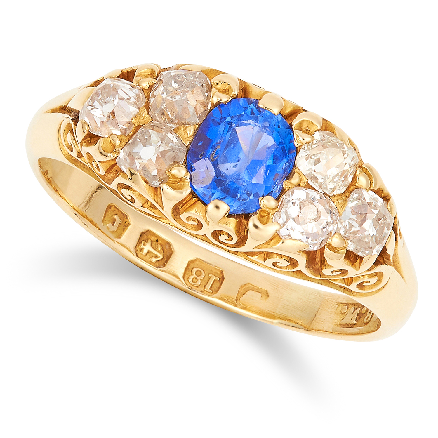 Los 17 - ANTIQUE VICTORIAN SAPPHIRE AND DIAMOND RING, 1891 set with an oval cut sapphire of 0.80 carats and