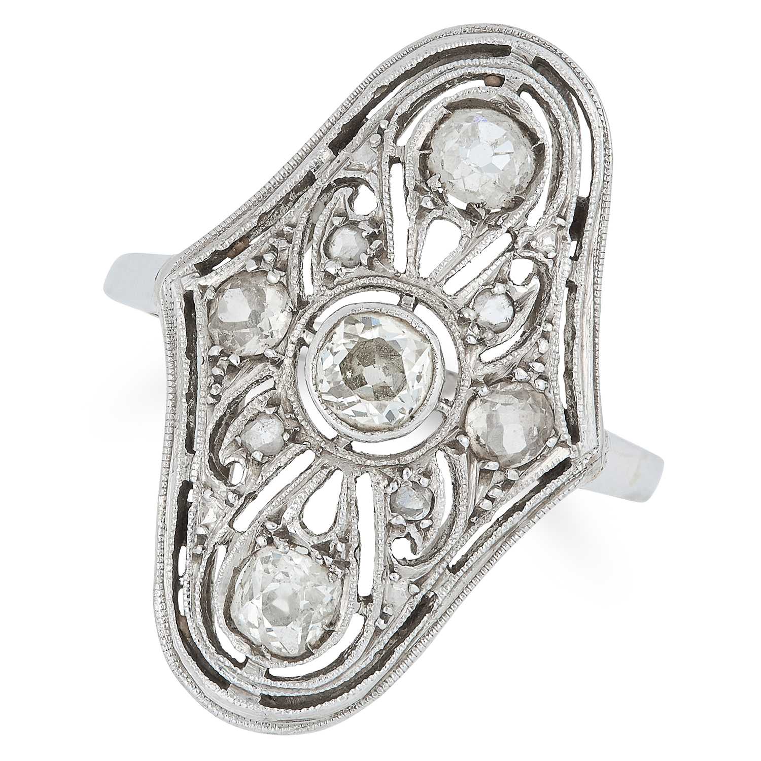 ART DECO DIAMOND DRESS RING the open framework is set with old and rose cut diamonds, size L / 5.