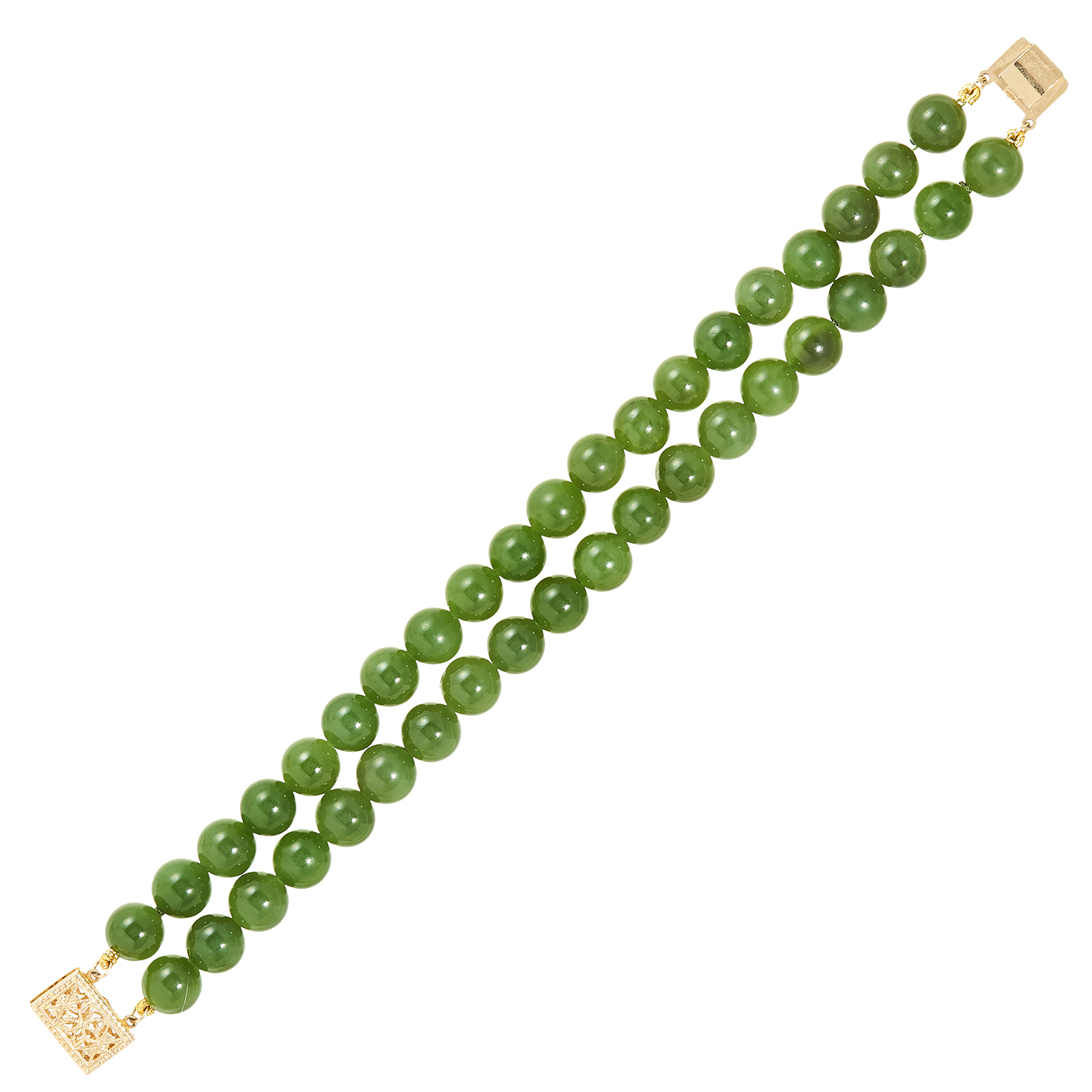 Los 15 - JADE BEAD BRACELET comprising of two rows of polished jade beads, 17cm, 31.81g.