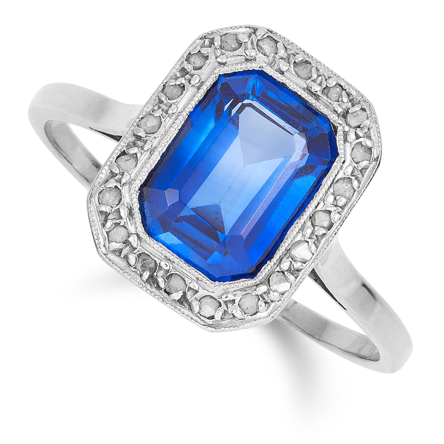 ANTIQUE SYNTHETIC SAPPHIRE AND DIAMOND RING set with an emerald cut synthetic sapphire and rose
