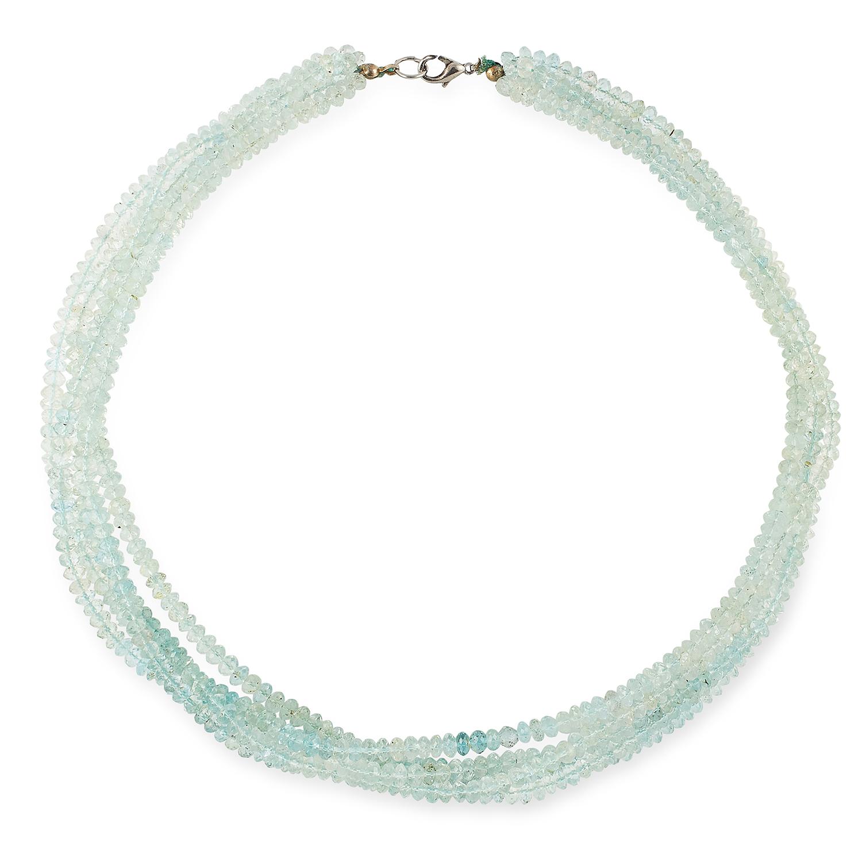 AQUAMARINE BEAD NECKLACE comprising of five rows of faceted aquamarine beads, 50cm, 74.2g.