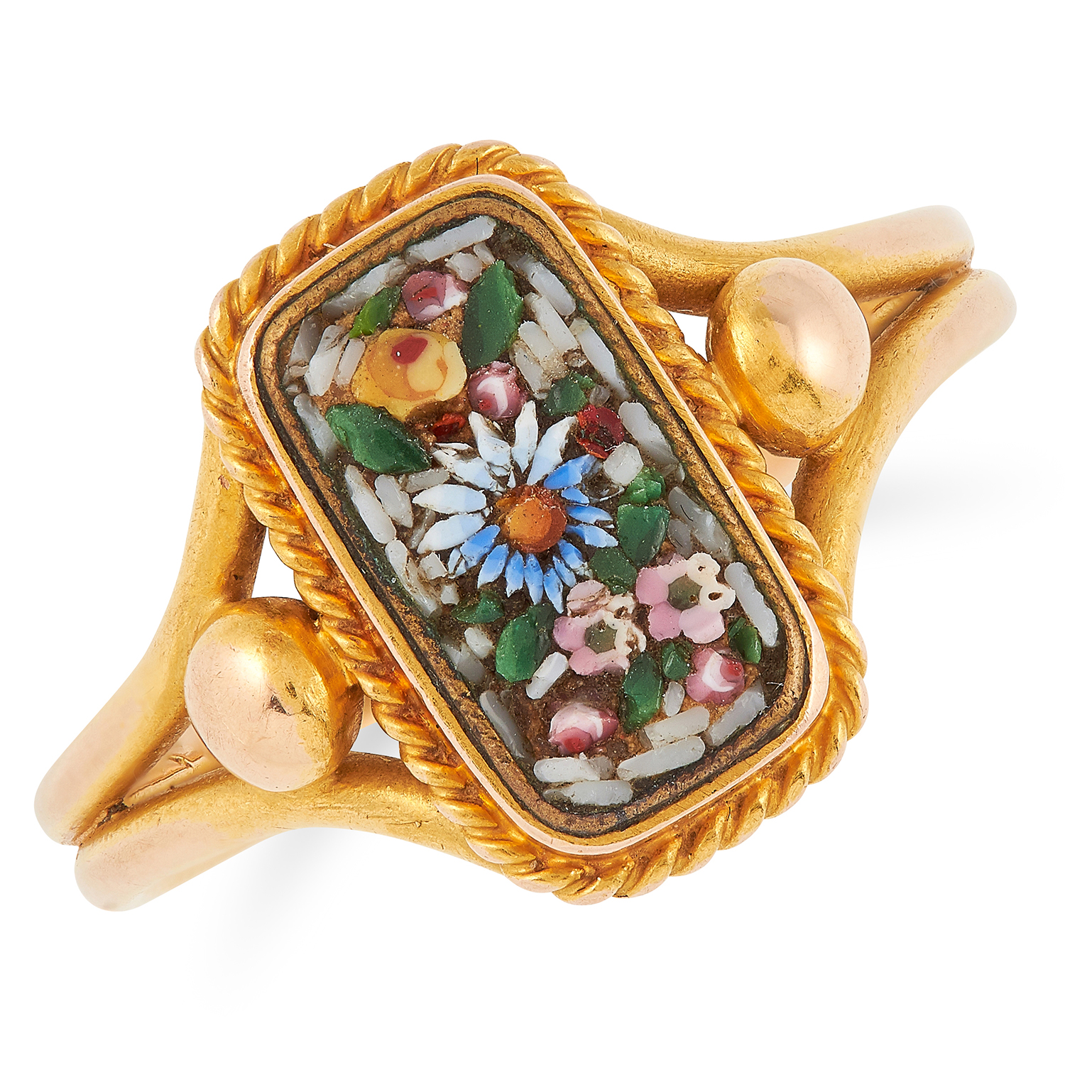 MICROMOSAIC RING in floral design, size N / 6.5, 4.3g.