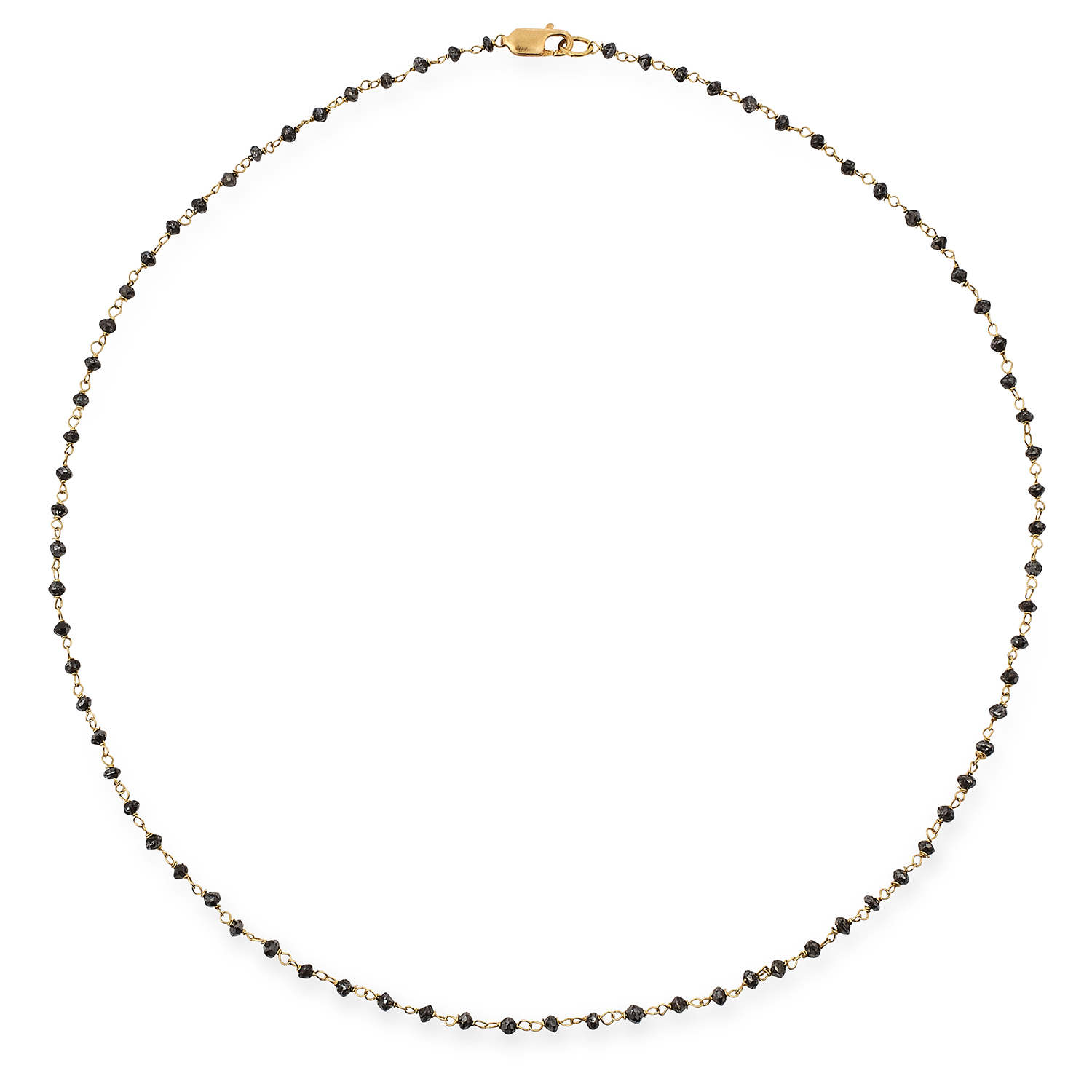 BLACK DIAMOND CHAIN NECKLACE set with faceted black diamond beads, 40cm, 3.2g.