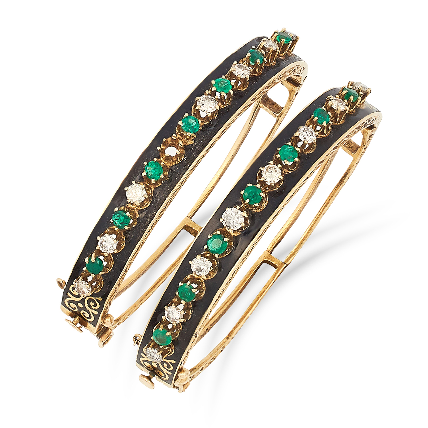 TWO EMERALD, DIAMOND AND ENAMEL BANGLES set with alternating round cut diamonds and emeralds on