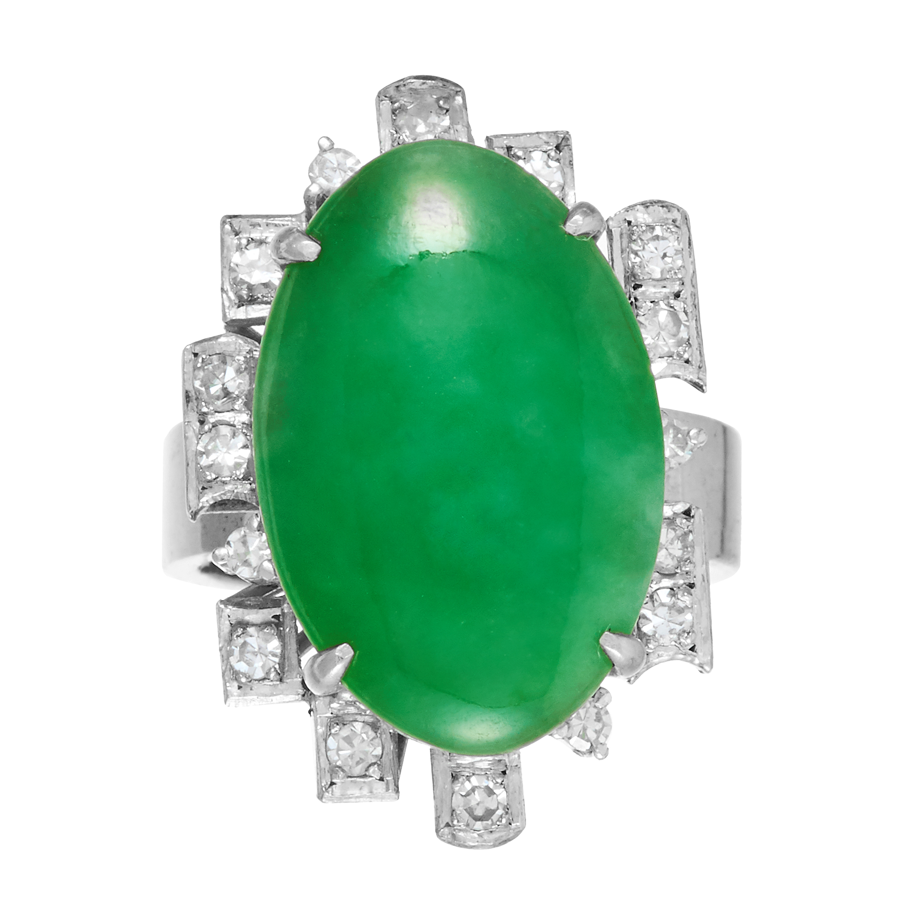 JADEITE JADE AND DIAMOND DRESS RING the oval jade cabochon within a geometric diamond border, size L