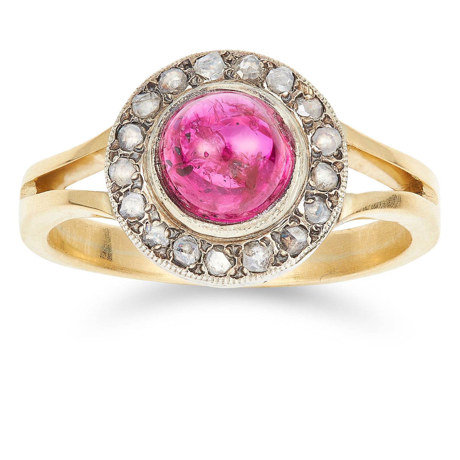 UNHEATED 1.92 CARAT RUBY AND DIAMOND RING set with a circular cabochon ruby and rose cut diamonds,