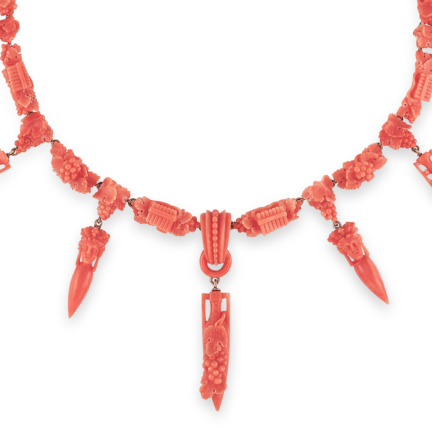 ANTIQUE CARVED CORAL NECKLACE, ITALIAN, 19TH CENTURY formed of carved links decorated with grapes, - Bild 2 aus 2