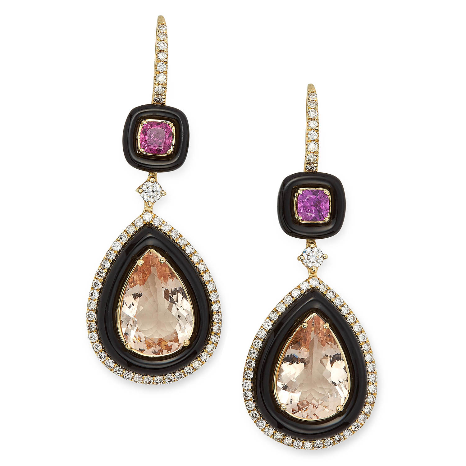 MORGANITE, ONYX AND DIAMOND DROP EARRINGS each set with a pear cut morganite in a border of polished