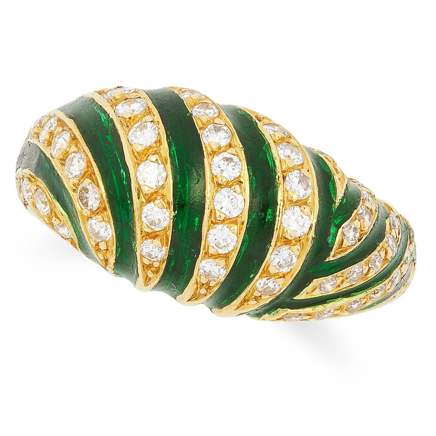 DIAMOND AND ENAMEL RING set with alternating round cut diamonds and green enamel, size N / 6.5, 7.