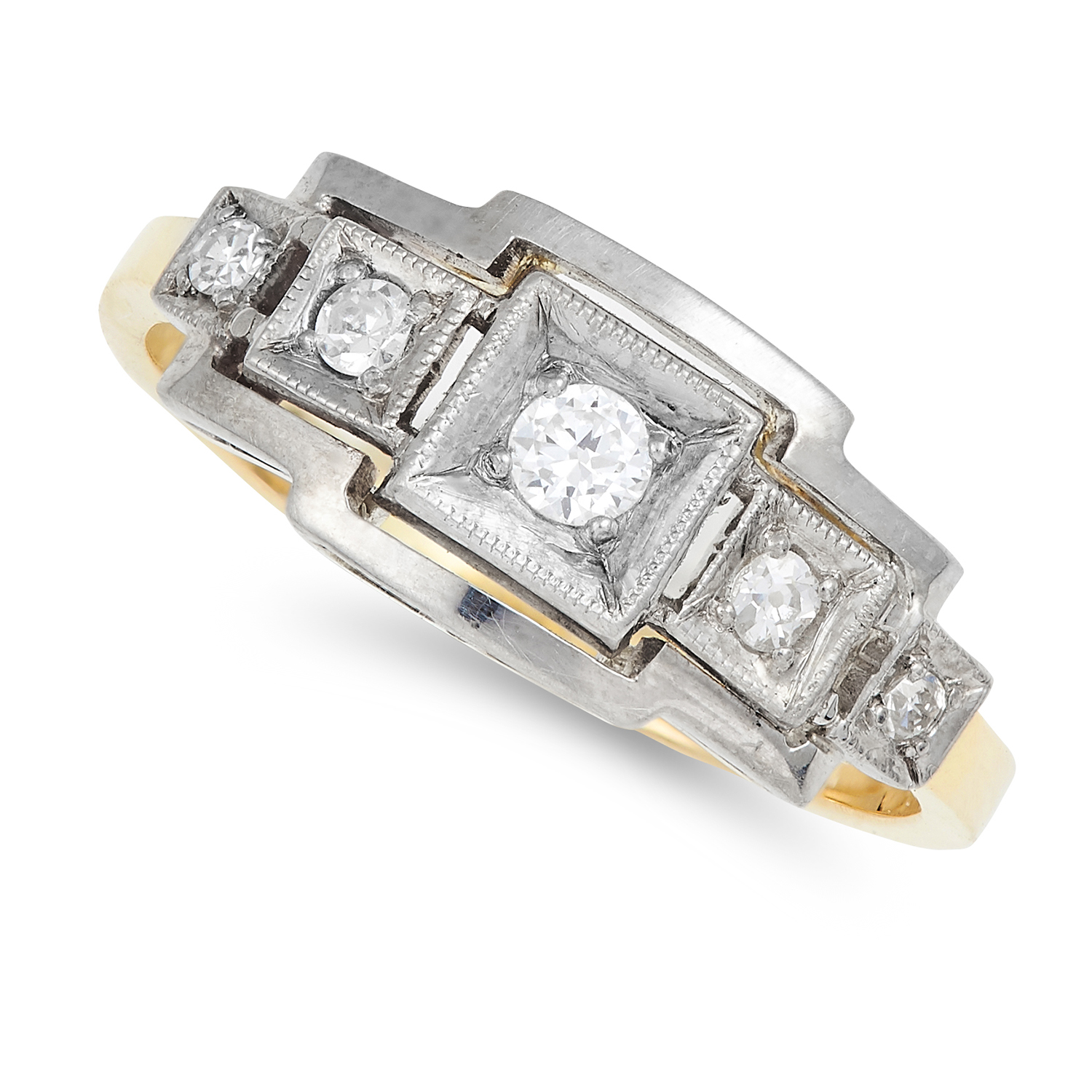 DIAMOND DRESS RING in Art Deco style set with round cut diamonds, size M / 6, 2.7g.