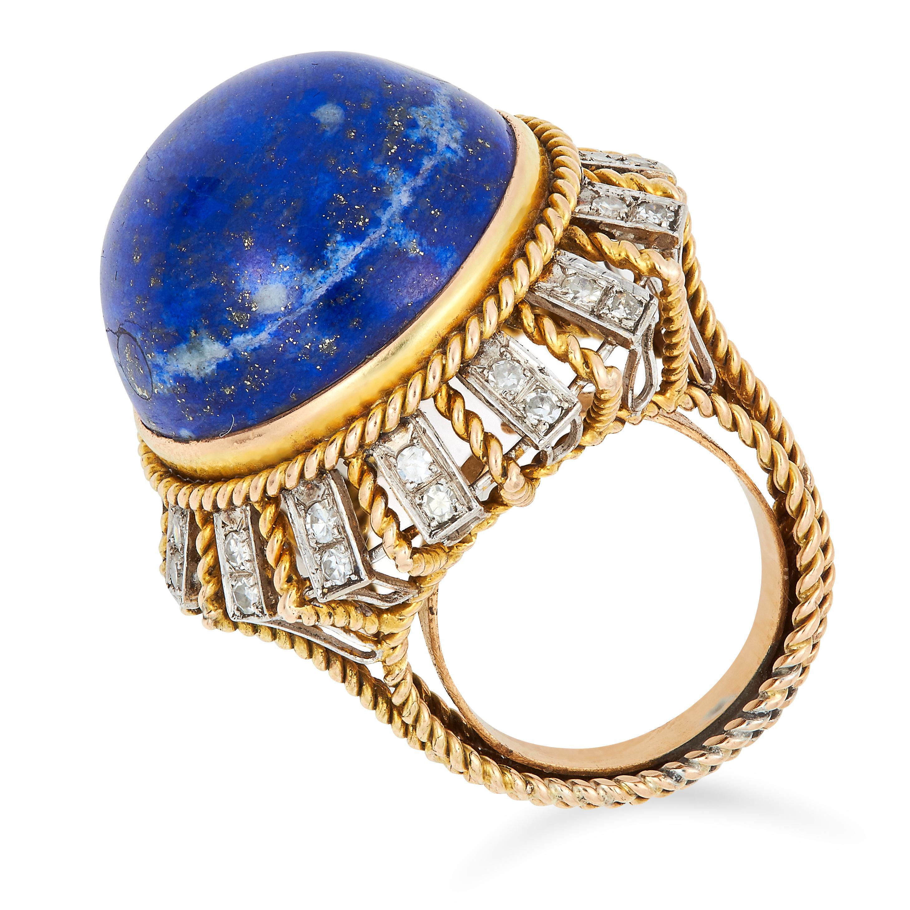 VINTAGE LAPIS LAZULI AND DIAMOND RING set with a circular lapis lazuli cabochon of 29.69 carats - Image 2 of 2