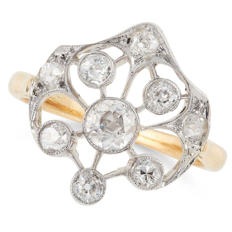 Los 28 - DIAMOND DRESS RING set with round cut diamonds, size K / 5, 3.1g.