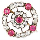 ANTIQUE RUBY AND DIAMOND BROOCH set with round cut rubies totalling approximately 3.20 carats and