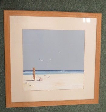 Lot 132 - John Horsewell (1956) -oil on board of a blue and white parasol on a deserted beach