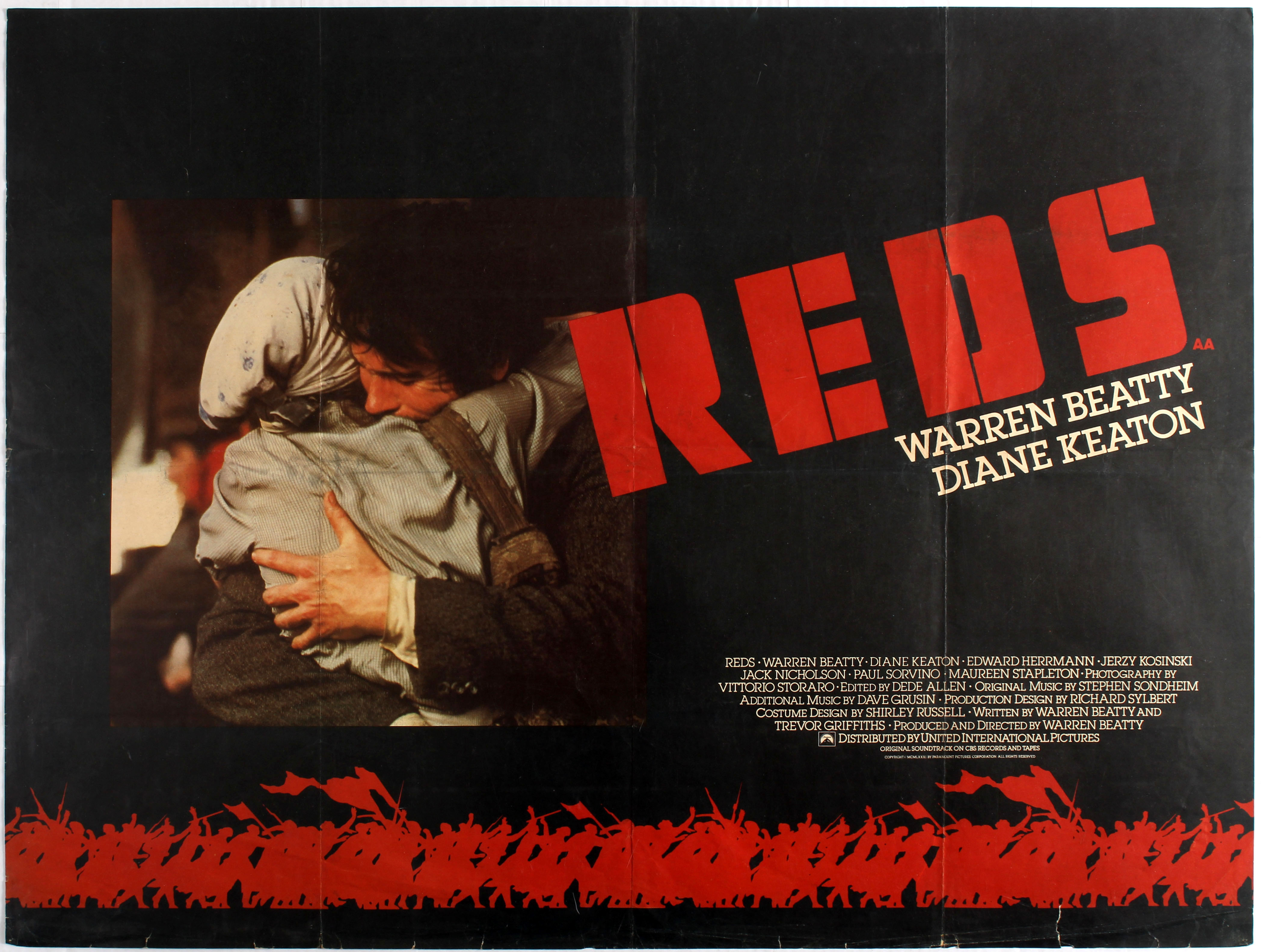 Original vintage movie poster for UK release of American drama Reds  directed by Warren Beatty sta