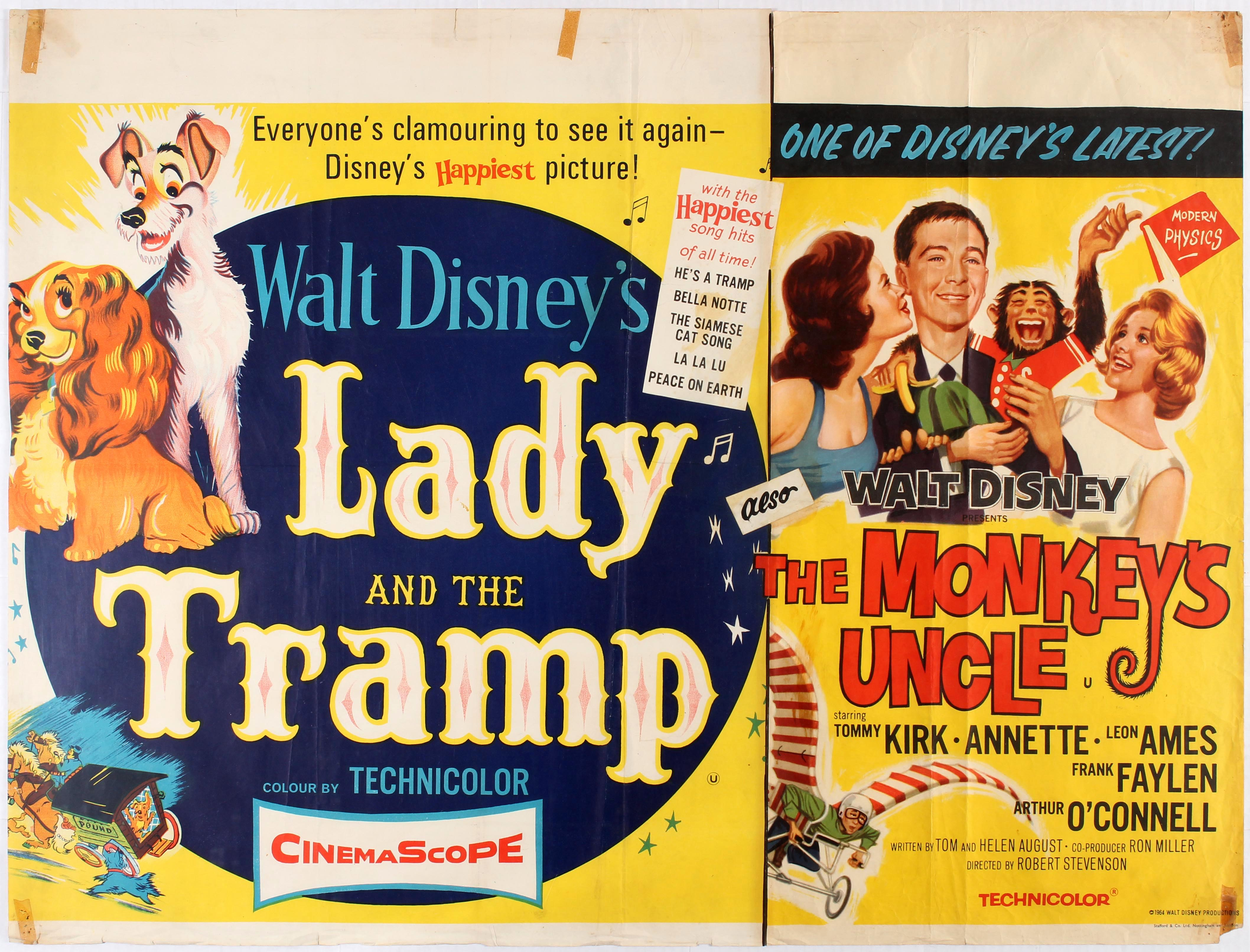 Original Vintage Movie Poster For Uk Re Release Of Lady And The Tramp And Uk Release Of The Monke