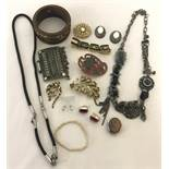 A small quantity of costume jewellery to include clip on earrings and bracelets.