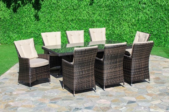 Lot 45 - Rattan LA 8 Seat Rectangular Dining Set With Parasol (Brown) *BRAND NEW*