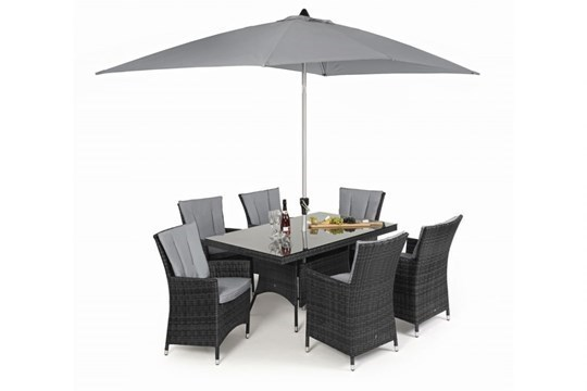 Lot 28 - Rattan LA 6 Seat Rectangular Outdoor Dining Set With Parasol (Grey) *BRAND NEW*