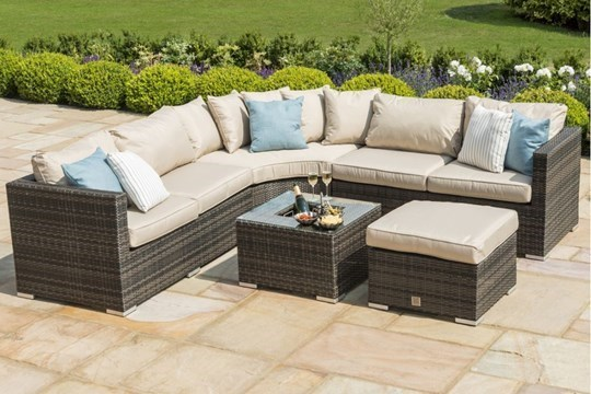 Lot 35 - Rattan Barcelona Outdoor Corner Group/Sofa Set With Ice Bucket Feature *BRAND NEW*
