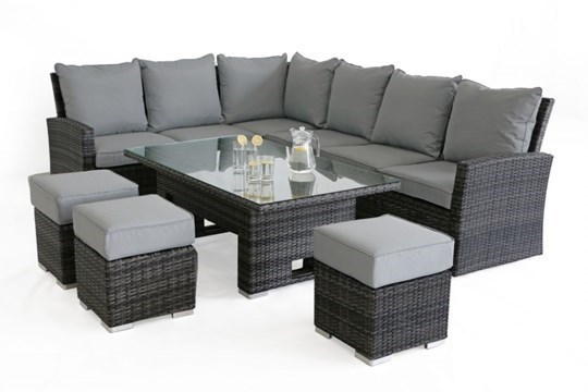Lot 41 - Rattan Kingston Corner Outdoor Dining Set With Rising Table (Grey) *BRAND NEW*