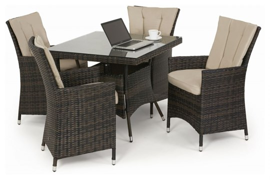 Lot 39 - Rattan LA 4 Seat Square Outdoor Dining Set With Parasol (Brown) *BRAND NEW*