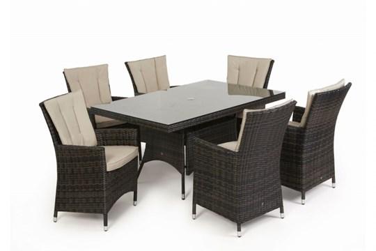 Lot 30 - Rattan LA 6 Seat Rectangular Outdoor Dining Set With Parasol (Brown) *BRAND NEW*