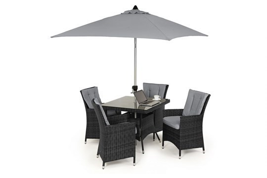 Lot 37 - Rattan LA 4 Seat Square Outdoor Dining Set With Parasol (Grey) *BRAND NEW*