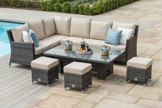 Lot 21 - Rattan Venice Corner Outdoor Dining Set With Ice Bucket And Rising Table (Brown) *BRAND NEW*