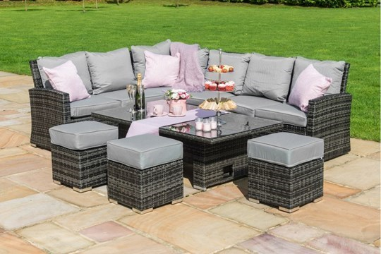 Lot 40 - Rattan Kingston Corner Outdoor Dining Set With Rising Table (Grey) *BRAND NEW*