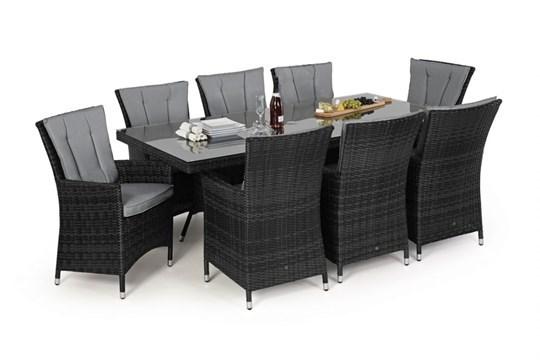 Lot 46 - Rattan LA 8 Seat Rectangular Dining Set With Parasol (Grey) *BRAND NEW*