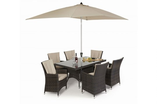 Lot 29 - Rattan LA 6 Seat Rectangular Outdoor Dining Set With Parasol (Brown) *BRAND NEW*