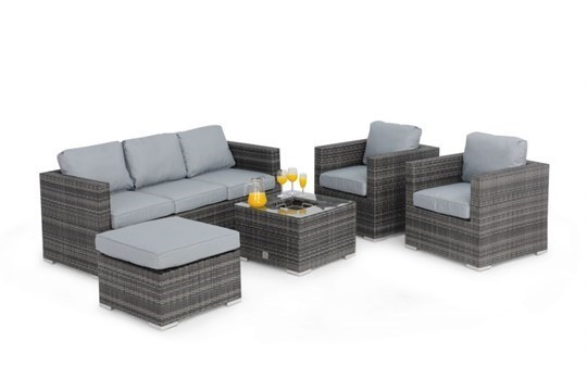 Lot 32 - Rattan Georgia 3 Seat Outdoor Sofa Set With Ice Bucket Feature (Grey) *BRAND NEW*