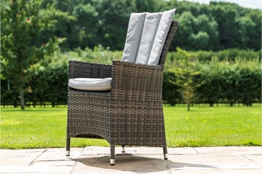 Lot 36 - Rattan LA 4 Seat Square Outdoor Dining Set With Parasol (Grey) *BRAND NEW*