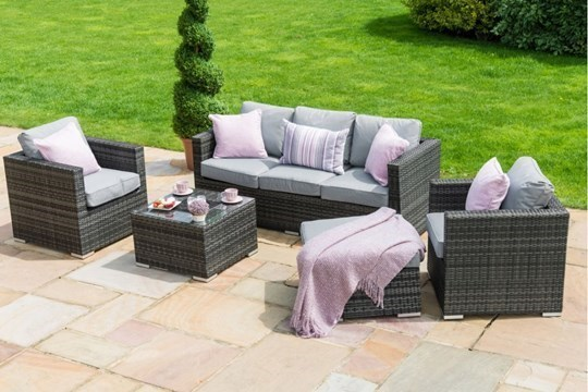 Lot 31 - Rattan Georgia 3 Seat Outdoor Sofa Set With Ice Bucket Feature (Grey) *BRAND NEW*