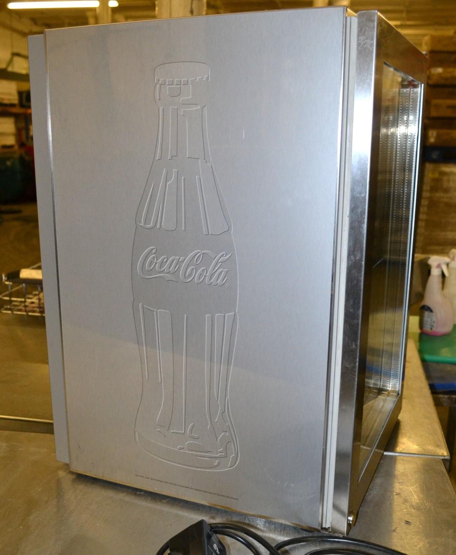 1 x silver coke coca cola branded bartop fridge by liebherr model fkv 502 dimensions 42 5. Black Bedroom Furniture Sets. Home Design Ideas