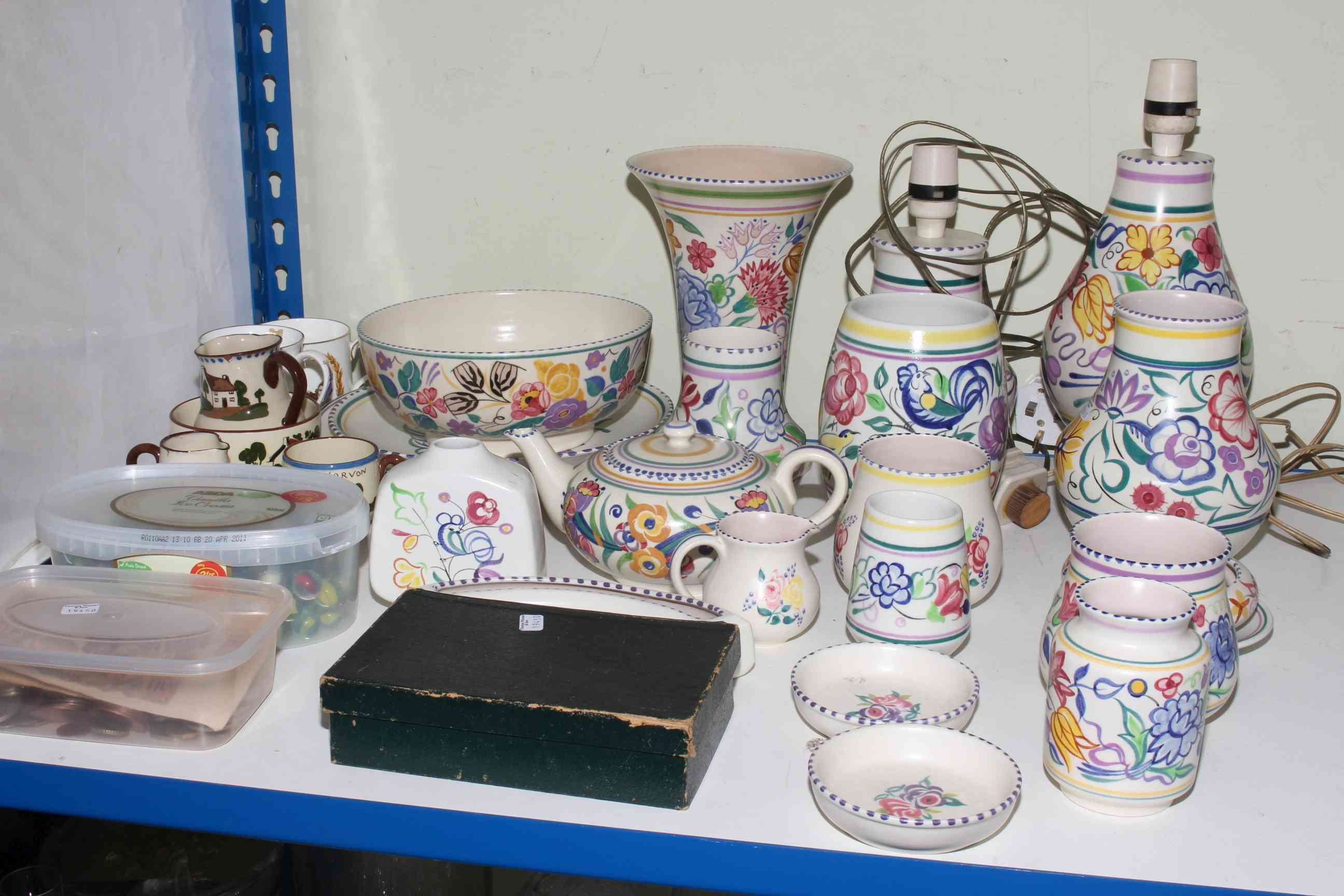 Lot 55 - Collection of Poole Pottery lamps, vases, bowl, teapot, plates, etc, tub of marbles,