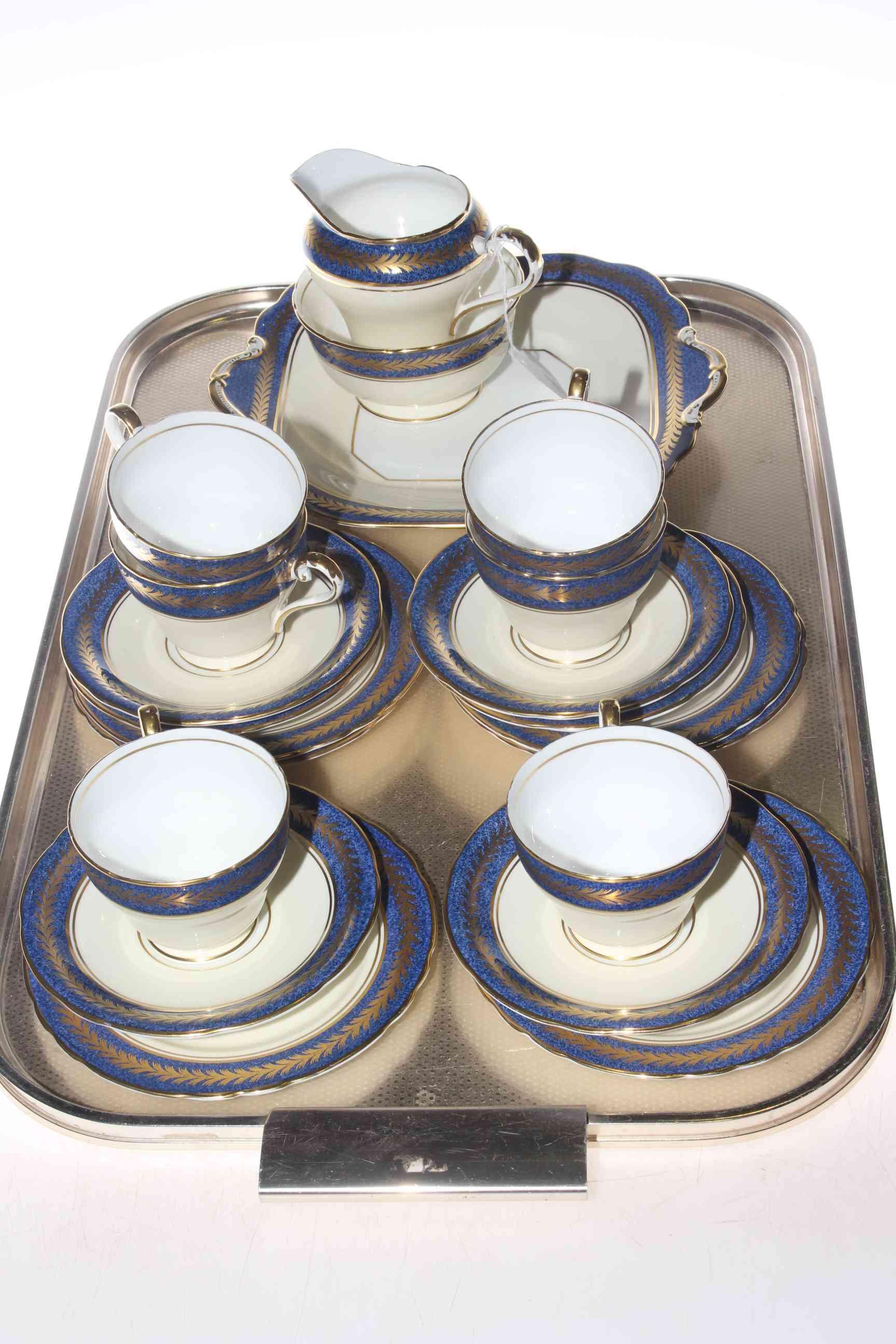 Lot 9 - Aynsley twenty one piece Blue Marble and Laurel Wreath tea service painted no.