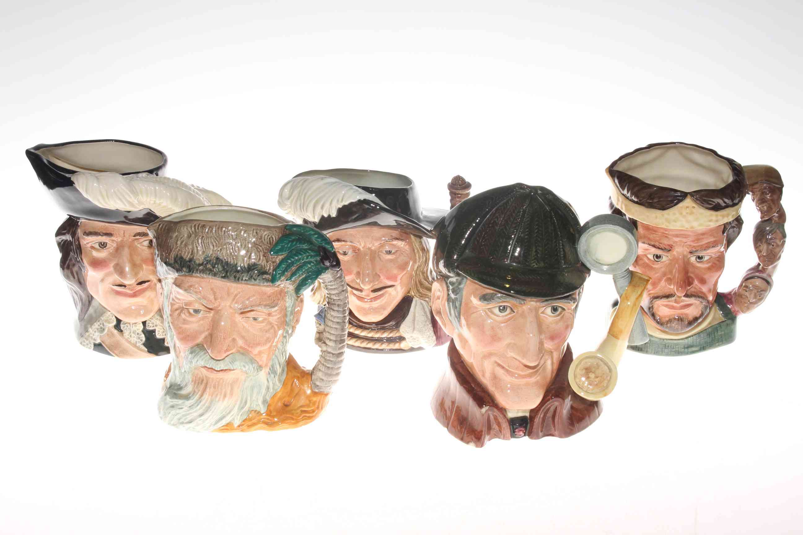 Lot 16 - Five large Royal Doulton character jugs including Robinson Crusoe and The Sleuth