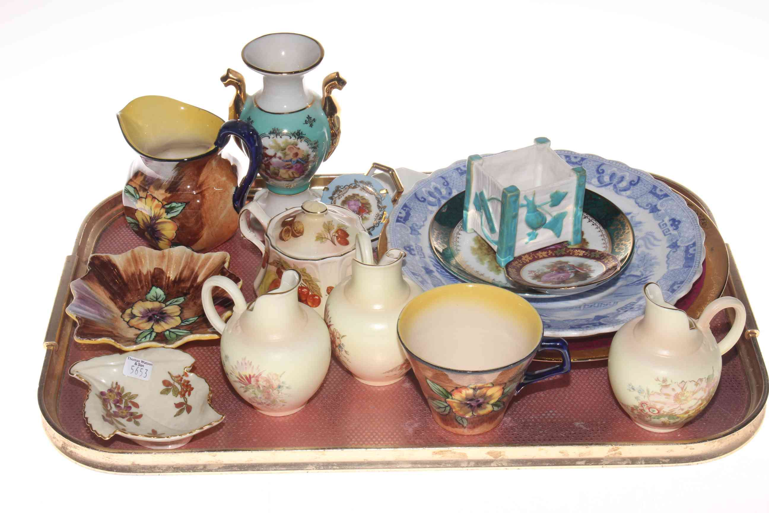 Lot 3 - Three small Royal Worcester flat back jugs, Worcester dish,