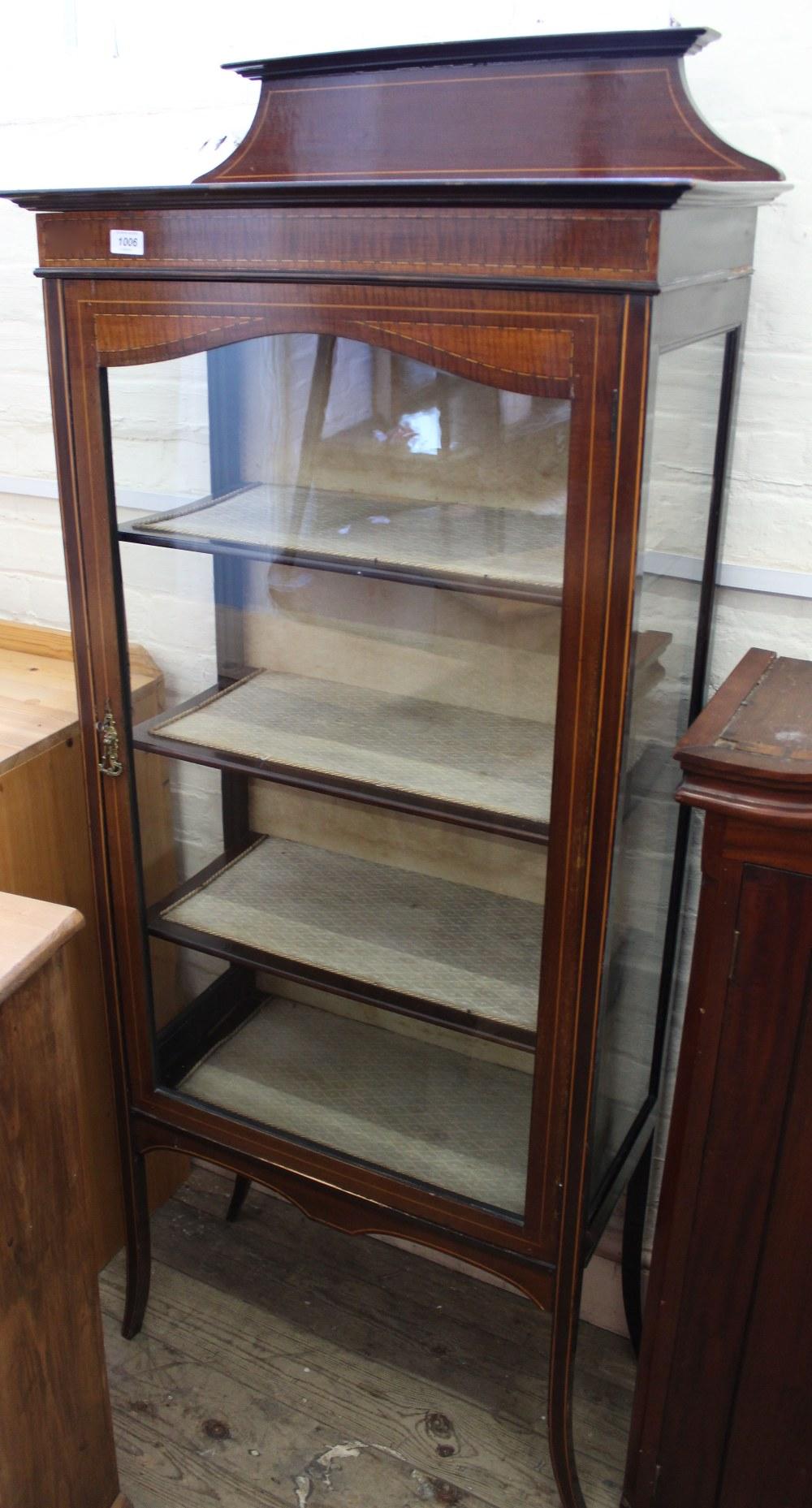 Lot 1006 - An Edwardian mahogany inlaid glazed display cabinet