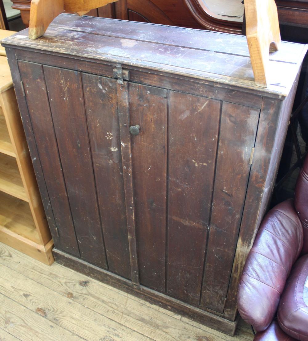 Lot 1010 - An Edwardian pine two door cupboard