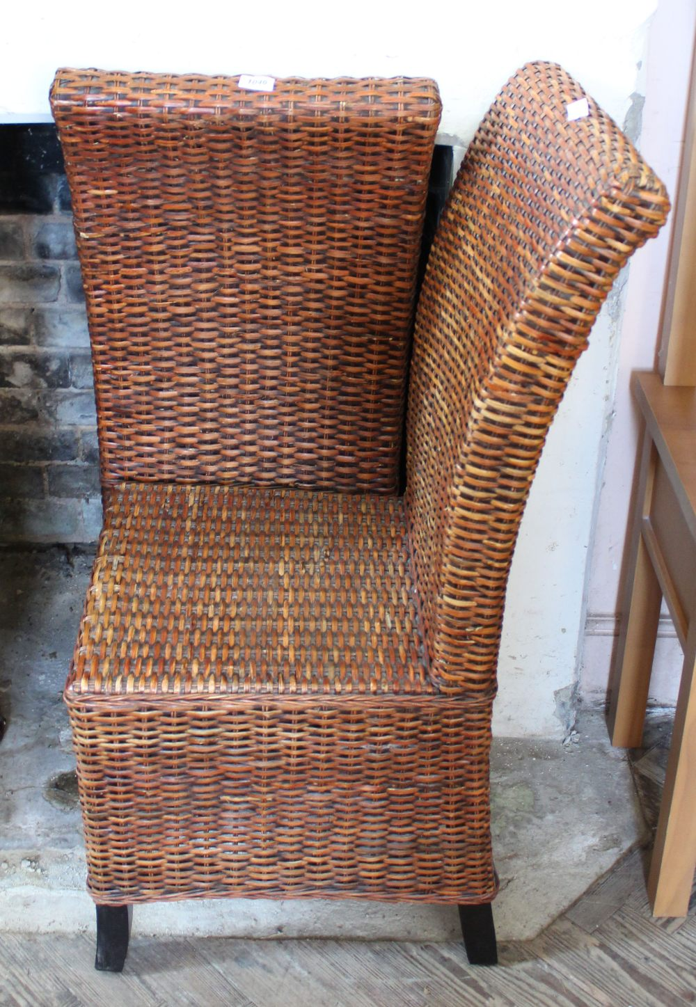 Lot 1046 - A pair of high back woven cane conservatory chairs