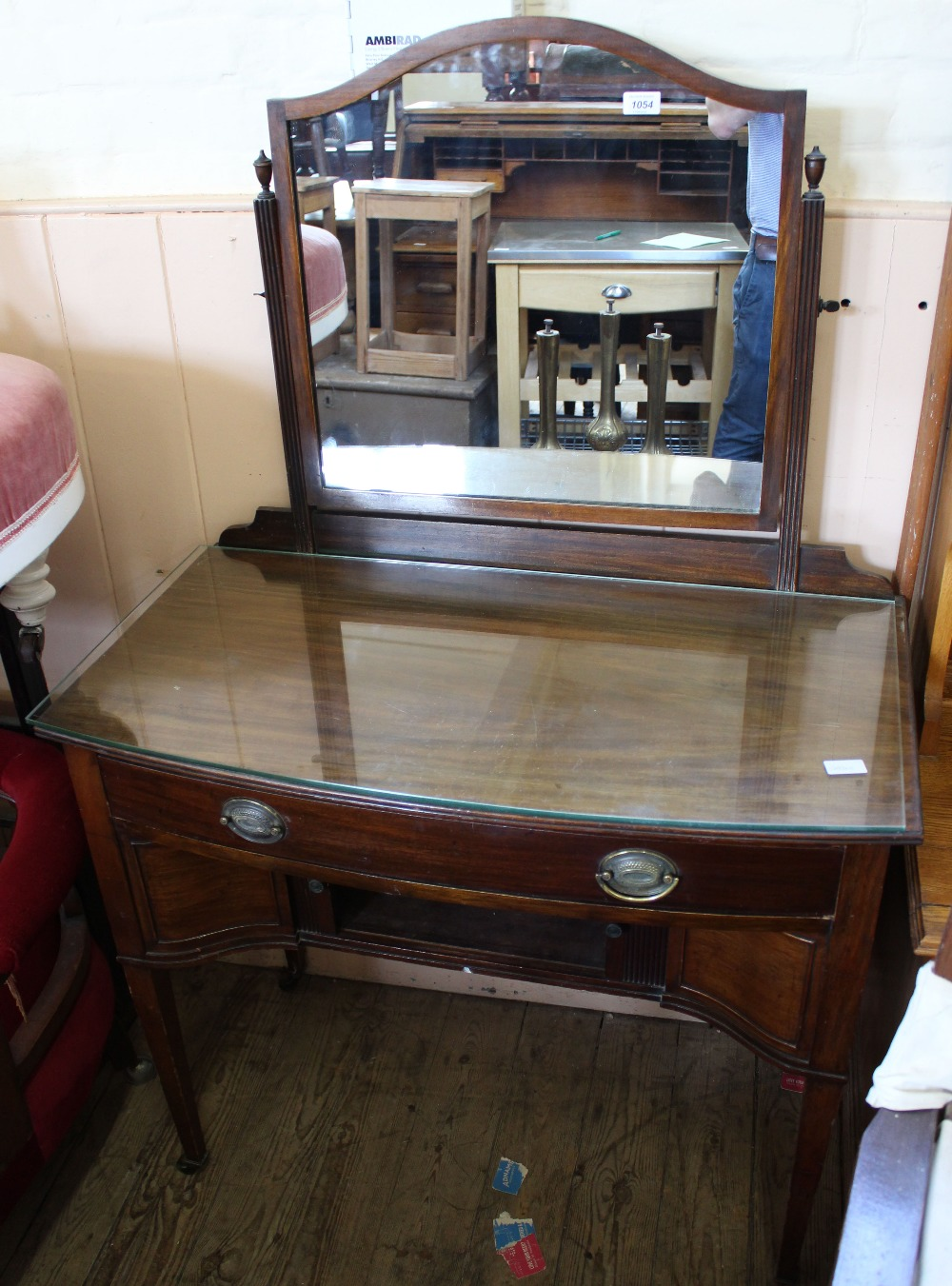 Lot 1054 - A 19th Century dressing table with single drawer and sliding lower compartment