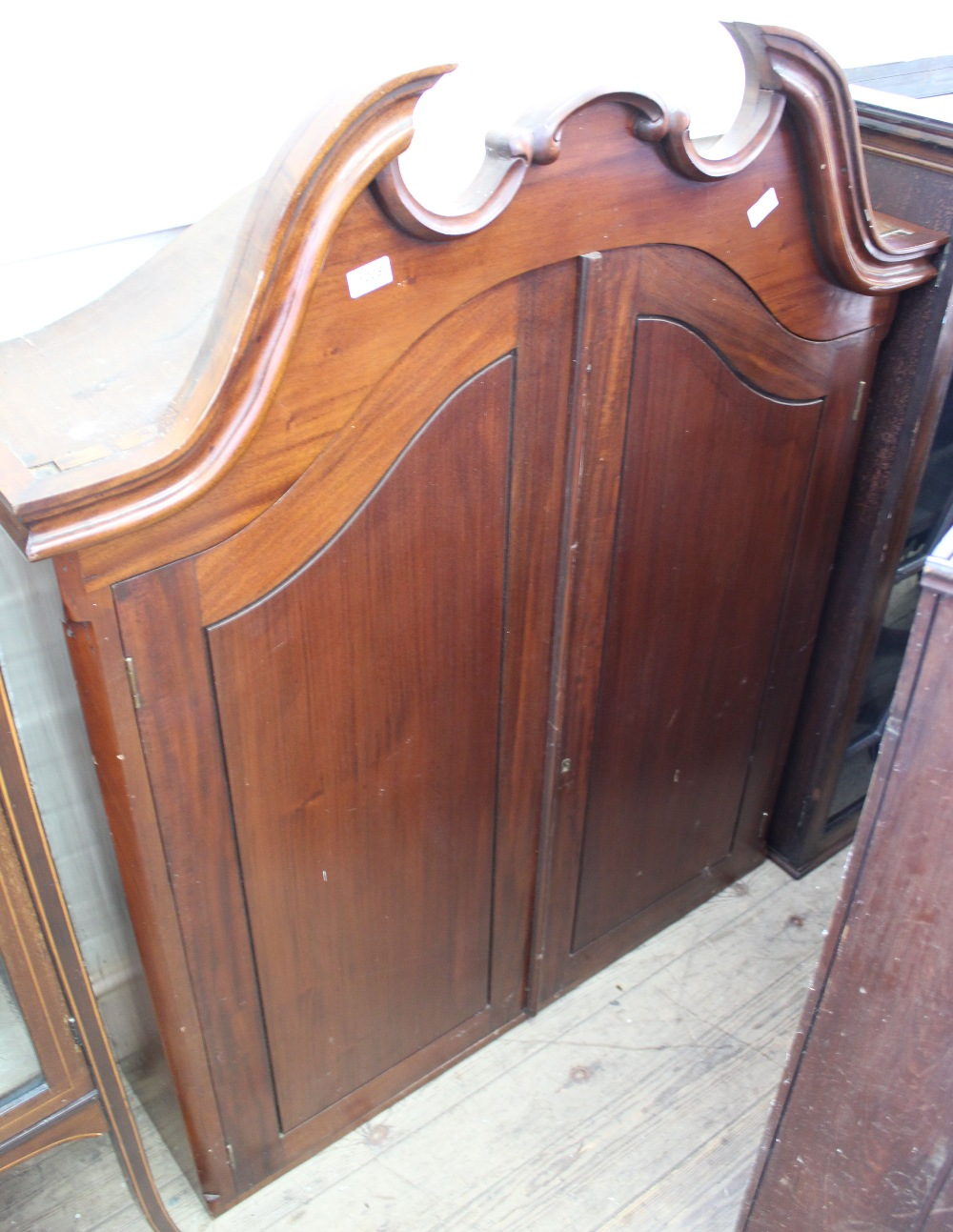 Lot 1008 - A Victorian mahogany two door office cabinet with fitted interior (base missing)