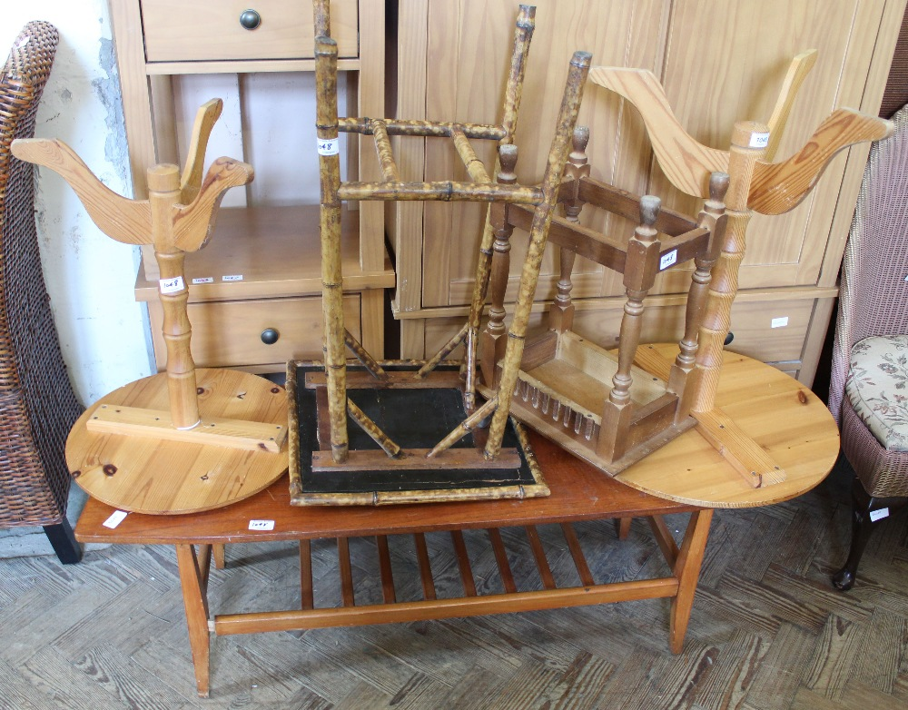 Lot 1048 - Two modern pine circular tripod tables, a rectangular two tier coffee table,